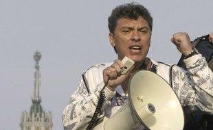 L'opposant russe Boris Nemtsov lors d'une manifestation à Moscou en 2012.