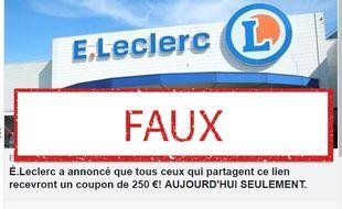 Un site propose des faux bons d'achat Leclerc.