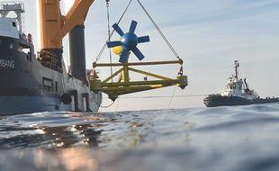 L'hydrolienne de la PME bretone Sabella a été immergée en juin 2015 au large d'Ouessant.