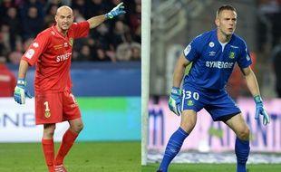 Les gardiens de but du FC Nantes Rémy Riou (à gauche) et Maxime Dupé (à droite).