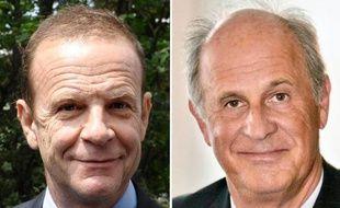 Deux des principaux prévenus, Patrice de Maistre (à droite), ex-gestionnaire de la fortune de la milliardaire Liliane Bettencourt, et le photographe François-Marie Banier (à gauche).