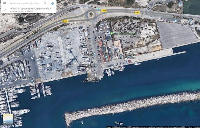 Une vue satellite de la mise à l'eau de l'Estaque, à Marseille.