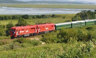 Le train qui transportait Kim Jong-il en Russie en août 2011.