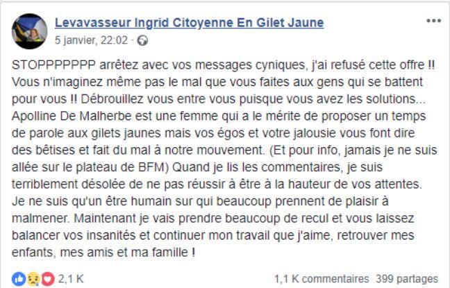 Le message posté sur Facebook par Ingrid Levavasseur.