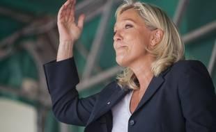 La présidente du Front national, Marine Le Pen, le 30 août 2014 à Brachay.