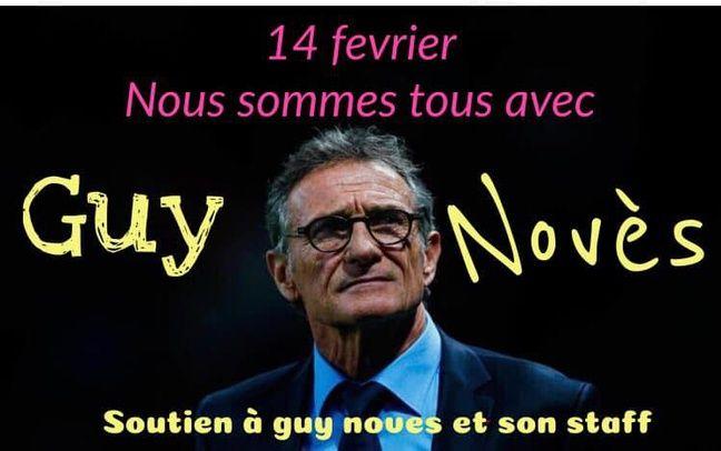 La photo que les membres du groupe Facebook de soutien à Guy Novès et à son staff sont appelés à arborer le 14 février.