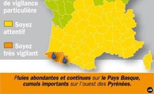 Le 16 juin 2010, Météo France a placé les départements des Pyrénées-Atlantiques et des Hautes-Pyrénées en vigilance orange en raison de fortes pluies attendues.