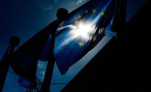 Bruxelles, le 16 June 2015, un drapeau européen. Credit:Frederic Sierakowski/ISOP/SIPA.