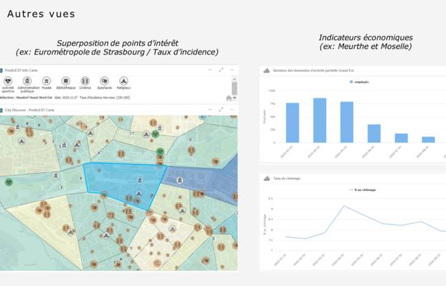 PredcitEst permet aussi de voir les données à une échelle très fine. Comme ici sur les quartiers de Strasbourg où il est possiblme de superposer le taux d'ncidence du Covid-19 avec d'autres données. Comme le taux de chômage, le nombre de logements sociaux etc. Tout ne se prête pas à analyse.