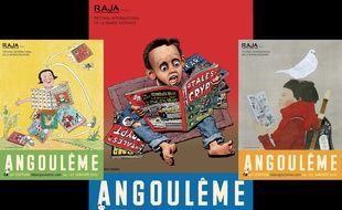 Les trois affiches du festival de la BD d'Angoulême 2019