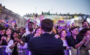 Emmanuel Macron lors de la Fête de la musique, le 21 juin à l'Elysée.