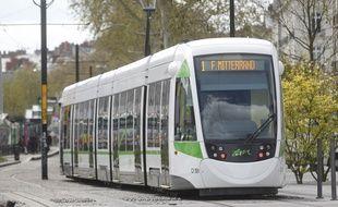 Un tramway de la ligne 1, ici près de la station Bouffay.
