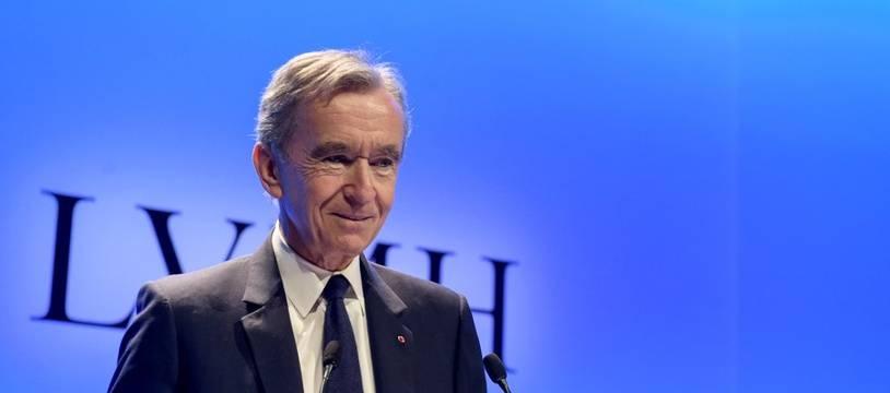 Le PDG du groupe LVMH, Bernard Arnault, lors d'une conférence de presse à Paris, le 29 janvier 2019.