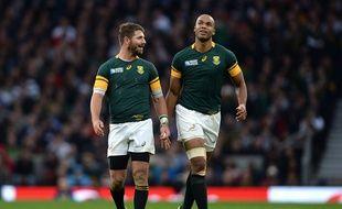 Willie le Roux (à gauche) et JP Pietersen, respectivement arrière et ailier des Sharks, sous le maillot de l'Afrique du Sud lors de la demi-finale de Coupe du monde contre la Nouvelle-Zélande, le 24 octobre 2015 à Twickenham.