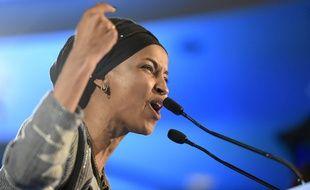 Ilhan Omar, l'une des deux premières élues musulmanes au  Congrès américain, après sa victoire dans le Minnesota, le 7 octobre 2018.