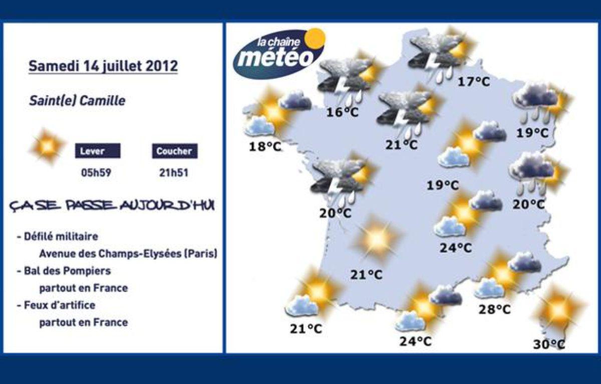 Carte météo du samedi 14 juillet 2012. – DR