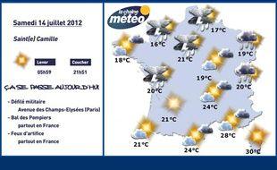 Carte météo du samedi 14 juillet 2012.