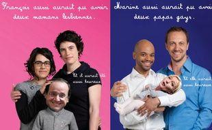 Des affiches de l'association SOS Homophobie appelant à reconnaître les familles homoparentales.