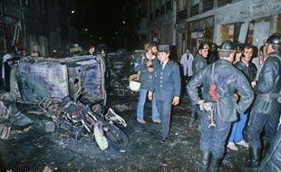 Photographie d'archives de la rue Copernic à Paris le 3 octobre 1980 après un attentat à la bombe devant une synagogue