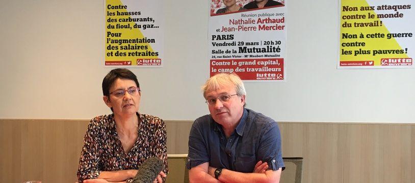 Nathalie Arthaud et Jean-Pierre Mercier de Lutte ouvrière, le 29 mars 2019 à Paris.