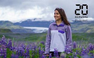 Illustration d'une femme en pull dans un champ de fleurs qui doit sentir bon à Vik, en Islande