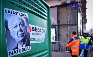 Un poster de Jean-Claude Gaudin rue de la Palud, où des immeubles délabrés ont été détruits