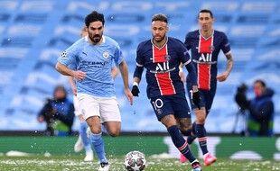 Manchester City face au PSG lors de la demi finale retour de la Ligue des champions, le 4 mai  2021.