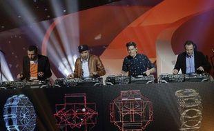 Les quatre DJ de C2C lors de la cérémonie des Victoires de la musique, le 8 février 2013 à Paris.