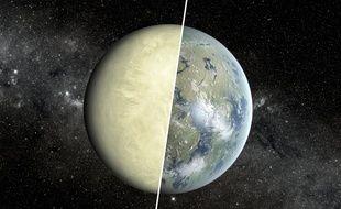 Vue d'artiste comparant une planète de type «super-Vénus» et de type «super-Terre»