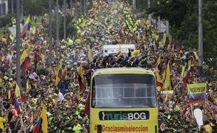 La sélection colombienne fêtée à Bogota le 6 juillet 2014.
