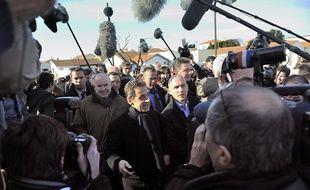 Nicolas Sarkozy en déplacement à Châtelaillon-Plage, en Charente-Maritime, le 21 février 2012.