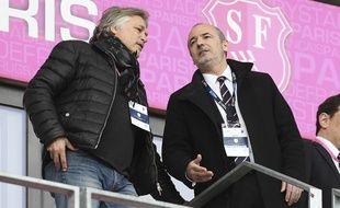 Le président du Stade Français Thomas Savare (à droite) lors d'un match contre le Racing 92, le 30 avril 2017.