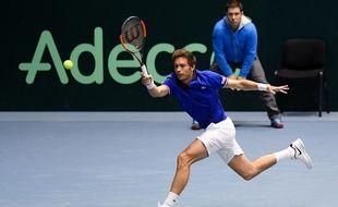 Nicolas Mahut lors du double face aux Pays-Bas, en Coupe Davis, samedi 3 février 2018.