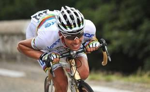 Le coureur Italien de l'équipe BMC, Alessandro Ballan, à l'époque sous les couleurs de la Lampre, le 24 juillet 2009 pendant le Tour de France.