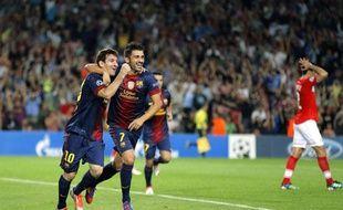 Lionel Messi et David Villa célèbrent un but de l'Argentin face au Spartak Moscou, le 19 septembre 2012 au Camp Nou.