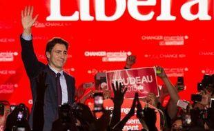 Justin Trudeau au soir de la victoire des Libéraux aux législatives le 20 octobre 2015 à Montreal