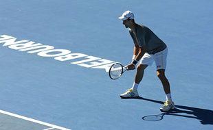 Novak Djokovic lors d'une session d'entraînement à l'Open d'Australie.