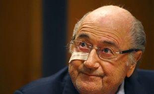 Sepp Blatter lors d'une conférence de presse le 21 décembre 2015.