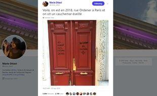 Des tags antisémites ont été découverts sur la porte d'un immeuble, à Paris.
