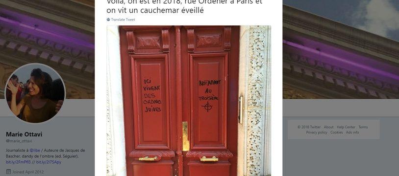 Des tweets antisémites ont été découverts sur la porte d'un immeuble.