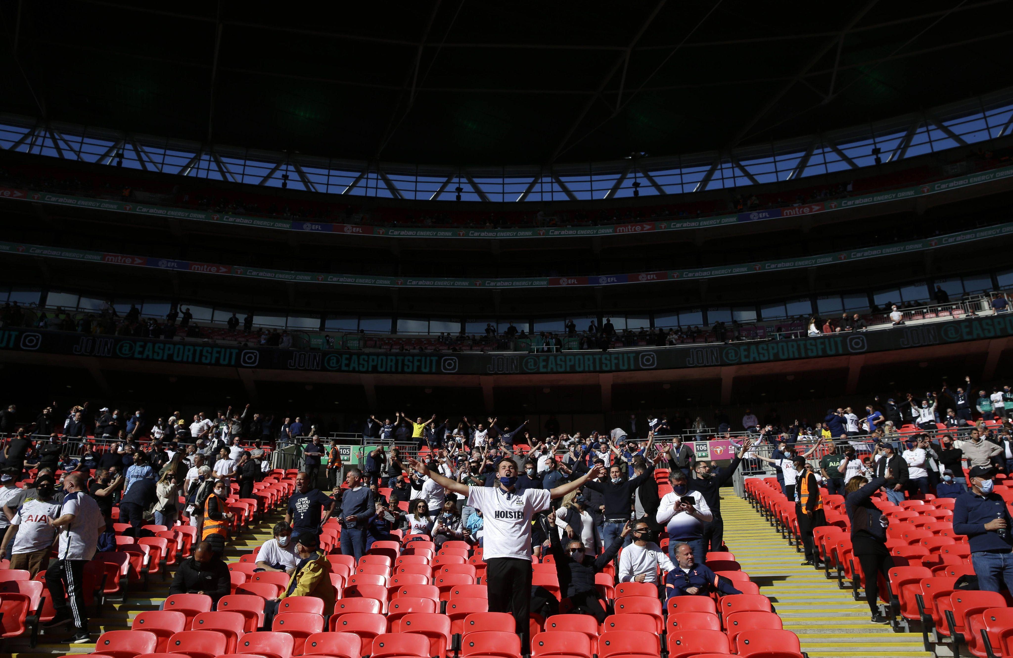 La finale de la Coupe de la Ligue anglaise entre City et Tottenham s'est jouée devant 8.000 spectateurs, le 25 avril 2021.