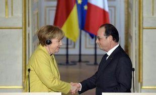 Angela Merkel et François Hollande à l'Elysée, le 20 février 2015 à Paris