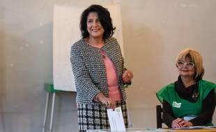 Salomé Zurabishvili lors du vote de l'élection présidentielle à Tbilisi, en Géorgie, le 28 novembre 2018. Elle a été élue présidente avec 59,5% des voix.