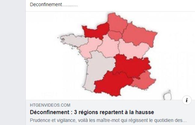 Une carte montrant trois régions en rouge.