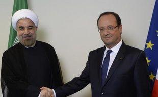 Hassan Rohani et François Hollande, les présidents iranien et français, le 24 septembre 2013 au siège de l'Onu, à New York