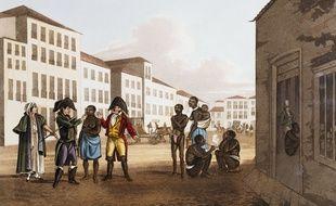 Marché des esclaves (1813). Image d'illustration.