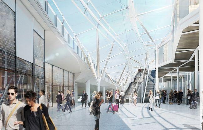 Vue de l'intérieur de la future gare de Rennes, actuellement en rénovation.