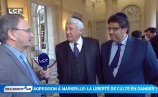 Claude Goasguen et Meyer Habib à l'Assemblée le 13 janvier 2015.