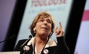 Marie-Noëlle Lienemann donnant une conférence lors du Congrès du parti socialiste à Toulouse, le 27 octobre 2012.
