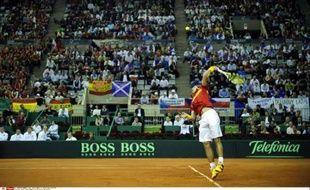Rafael Nadal lors d'un match de Coupe Davis face à la République Tchèque, le 4 décembre 2009